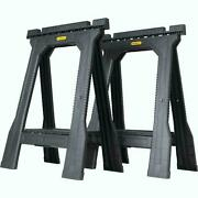 2 Pack Stanley Folding Sawhorse 22 In. Durable Plastic Stand Holds 800 Lbs