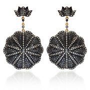 5.14 Ct Diamond Pave 14k Gold Dangle Earrings 925 Silver Valentine Gift Jewelry