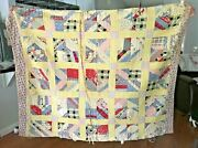 Vintage Antique 82 X 64 Patch Work Quilt Hand Quilted Blanket 100+ Years Old