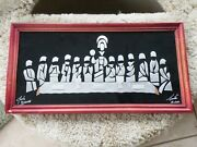 Mcm Signed Mexican Last Supper Benedictine Monks Modernist 17 X 9 Free Ship