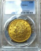 1897-s Pcgs Ms64 Liberty Double Eagle 20 Gold Uncirculated 41459000