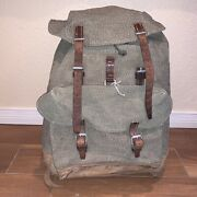 Vtg Swiss Army Rucksack Salt And Pepper Canvas Leather Backpack Military Pack 1969