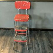 Vintage Step Stool Metal Pull Out Steps Red Retro Distressed Old Kitchen Chair