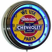 16 We Use Genuine Chevrolet Parts Sign Blue Neon Clock Chevy