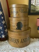 Primitive Country Handcrafted George Washington Set Of 3 Nesting Stacking Boxes
