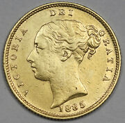 Great Britain 1885 1/2 Half Sovereign Gold Coin Almost Unc Young Head Shield Uk