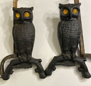 Antique Cast Iron Figural Light Up Glass Eye Old Owl Statue Fireplace Andirons