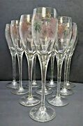 10 Rosenberg Romanian Crystal Champagne Flutes Etched And Hand Painted Grapes 24k