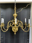 """Solid Brass Forged Colonial Williamsburg Style Chandelier Lester Berry 33"""" Wide"""