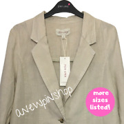 Mands Ladies Jacket Stone Single Breasted Pure Linen Bnwt Marks Peruna Andpound65