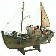 Collectible Decorative Model Ancient Fishing Boat Ship Wood Assembled Home Decor
