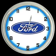 16 Ford Blue Oval Logo Sign Blue Neon Clock Mustang