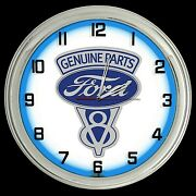 16 Ford Genuine Parts V8 Sign Blue Neon Clock Mustang
