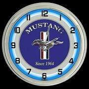 16 Ford Mustang Since 1964 Logo Sign Blue Neon Clock