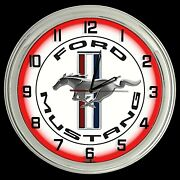 16 Ford Mustang Logo White Sign Red Neon Clock