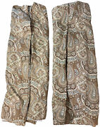 """Vintage Custom Pinch Pleat Curtains Drapes Paisley Blue Brown Lined Heavy 28""""x98"""