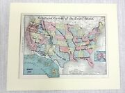 1901 Antique Map Of The United States Territorial Growth American Historical