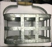 Galvanized Rustic Farmhouse Wine Beer Bottle Carrier.