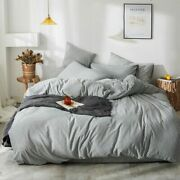 Japan Style Bedding Set 100 Knitted Cotton Stripe Duvet Cover Bed Sheets Pillow