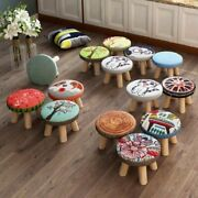 Kids Chair Solid Wood Shoe Stool Door Wear Square Living Room Cloth Art Small