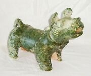 2000 Year Old Chinese Han Green Glaze Mortuary Figure Stout Dog Sculpture Dam