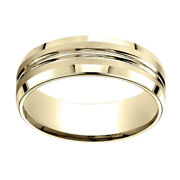 18k Yellow Gold 7.00 Mm Comfort-fit Menand039s Anniversary And Wedding Band Ring Sz-8