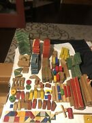 Vintage Colored Wood Wooden Building Blocks Toy Mixed Lot Patina