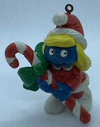 Vtg 1982 Schleich Smurfette Christmas Ornament Holding Candy Cane, W Berrie Co.