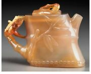 Jade058 Estate Chinese Carved Agate Bamboo-form Teapot. Late 19th/20th Century