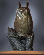 Genuine Bronze Metal Sculpture Great Horned Owl 14 High Limited Edition Of 15