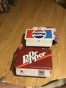 2 Vintage 16 Oz Cardboard Cartons Pepsi And Dr Pepper Gd Condition