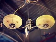 1930's Art Deco 2 Arm Ceiling Light With Glass Shades And Chrome Fixture