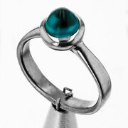 Natural Blue Zircon18ct Solid White Gold Ring Size M1/2 See Videos
