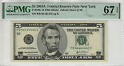 2003 A 5 Federal Reserve Note Near Solid Serial 4's Pmg Supber Gem 67 Epq441c
