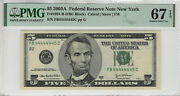 2003 A 5 Federal Reserve Note Near Solid Serial 4's Pmg Supber Gem 67 Epq445c