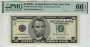 2003 A 5 Federal Reserve Note Near Solid Serial 4's Pmg Gem Unc 66 Epq 446c