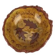 Redware Red Goose Pottery 1994 Bowl Deep Glazed Autumn Dance Acorn Leaves Signed