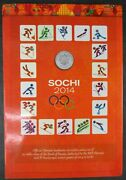Sochi 2014 Olympics Set Of 25 Russian Ruble 4 Coins And 100 Ruble Bank Note