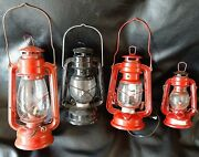 Lot Of 4 Kerosene Lanterns. 1 Modified To Electric. Great Deal. Age Unknown.