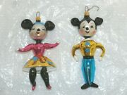 Christopher Radko Set Of 2 Glass Ornaments Kissing Cousins Mickey Minnie Mouse