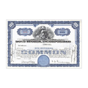 Bond Stores Inc. Stock Certificate // 100 Shares // Blue // 1940s-50s