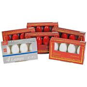Lot/24 Vntg Christmas Lights C9-1/4 Replacement Bulbs Multi Color Red White Nos