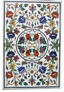 36 X 48 Inches Multi Gemstone Inlaid Marble Hallway Table Top White Coffee Table