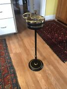 Rare Vintage Tole Standing Cigar Ashtray Gold And Black