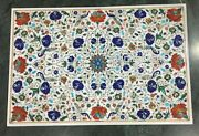 Multi Color Gemstones Inlaid Meeting Table Top White Coffee Table 36 X 48 Inch