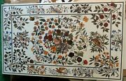 36 X 60 Inches Marble Stone Dining Table Top Floral Pattern Inlaid Coffee Table