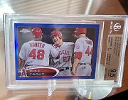 2012 Topps Chrome Mike Trout Blue Refractor 65/199 Graded Bgs 9.5 Gem Mint