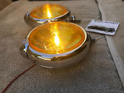 New Small 6 - Volt Amber Vintage Style Fog Lights With Fog Cap On Lights 46 49