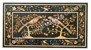 4and039x2and039 Black Marble Dining Center Table Top Marquetry Inlay Furniture Decor H5135