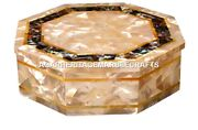 Marble Jewellery Box Semi Precious Abalone Stone Work Collectible Gifts H2017